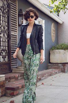 :: . bra top - American Apparel, navy leather jacket - Theyskens' Theory, trousers - Tribune Standard, shoes - Bottega Veneta shoes, sunglasses - Persol ::