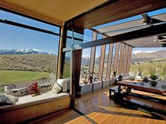 Awesome indoor/outdoor patio; closeable wall of windows allow entire space to open. Located above Lake Hayes in Queenstown, New Zealand; 12M 7/2012