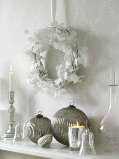 silver white candle display