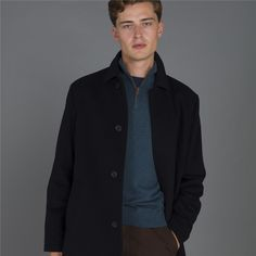 With a timeless shape and luxurious wool blend, the Magee 1866 Edergole short coat is a true wardrobe staple.  Weekend Wear, Wardrobe Staples, Wool Blend, Raincoat, Shape, Suits, Navy, Casual, How To Wear