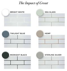 Even though it's sometimes the very last choice or even a forgotten detail in your project, grout color has great impact on the final results of your wall, floor or countertop design. White Tiles Grey Grout, Grey Subway Tiles, Subway Tile Kitchen, White Subway Tile Backsplash, White Tile Kitchen, Grey Grout Bathroom, Colourful Kitchen Tiles, Subway Tile Colors, White Subway Tile Bathroom