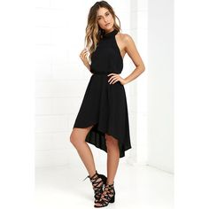 That and More Black High-Low Halter Dress featuring polyvore, women's fashion, clothing, dresses, gowns, black, halter evening dress, halter-neck dress, halter gown, open back gown and open back dress
