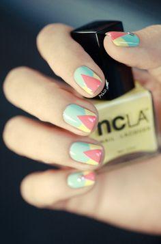 Image de nails, nail art, and yellow Elegant Nail Designs, Nail Designs Spring, Nail Polish Designs, Nail Art Designs, Love Nails, Fun Nails, Geometric Nail Art, Top Nail, Types Of Nails
