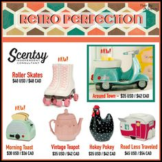 "Scentsy ""Retro Perfection"" wax warmers for fall and winter 2016 #wickless #candles #scentsbykris"