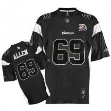 Vikings  69 Jared Allen Black Shadow Team 50TH Patch Stitched NFL Jersey  Sidney Rice d6c43962d