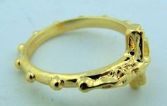 PLC Mens Womens Petite Gold INRI Jesus Christ Cross Crucifix Rosary Ring . $5.75. Size: Mens - Small / Womens - Large. Material: Gold Plate