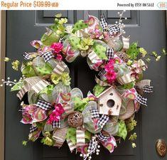 ON SALE, Bird House Wreath, Spring Wreath, Front Door Wreath, Pink Wreath, Burlap Wreath, Deco Mesh Wreath, Outdoor Wreaths, Summer Wreath by ChanceyCreations on Etsy https://www.etsy.com/listing/270843430/on-sale-bird-house-wreath-spring-wreath