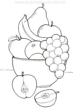 fruit basket coloring pages Fruit Coloring Pages, Coloring Book Pages, Coloring Pages For Kids, Coloring Sheets, Art Drawings For Kids, Drawing For Kids, Easy Drawings, Drawing Lessons, Art Lessons