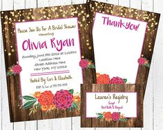 -A hi-resolution, digital, printable JPEG file of the invitation and thank you card -A PDF document formatted to print 5X7 invitations and thank you cards either at home or at a printing center -A gift registry insert to go with the invitations - included in the PDF document