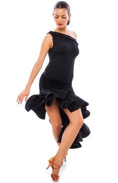 Sasuel Jennifer Latin Dress : sasuel jennifer latin dance dress with asymmetric neckline and hemline with full ruffled skirt and crinoline hem from dancewear for you Salsa Outfit, Salsa Dress, Latin Ballroom Dresses, Latin Dresses, Samba Dance, Tango Dress, Dance Fashion, Necklines For Dresses, Dance Outfits