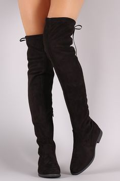 Description These  over the knee boots  feature a soft vegan suede, low block heel, round toe, and a drawstring collar that ties at the back for…