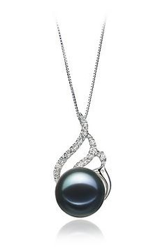 PearlsOnly Tracy Black 12.0-12.5mm AA Freshwater Sterling Silver With Rhodium Plated Cultured Pearl Pendant -