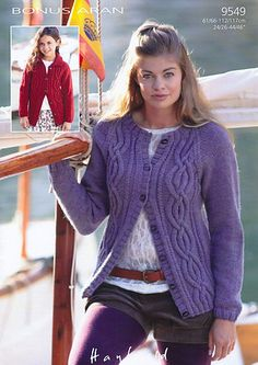 "Hayfield 9549 Knitted Cardigans in Hayfield Bonus Aran Tweed (#4) weight yarn. For children and adults from 24""/26"" to 44""/46""."