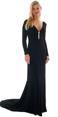 Black long sleeve dress with train