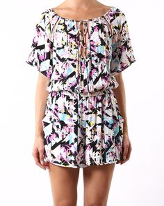 Incyda Magic Sunrise Playsuit - Clothing - Birdmotel Online Store  The vibrant bloomtastic floral design featured in a classic incyda style - the Magic Sunrise playsuit.
