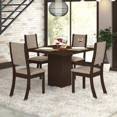 Conjunto para Sala de Jantar Alpha K Mesa e 4 Cadeiras Choco/Capuccino - Viero em até 10x sem juros ou com 15% de desconto é na Panorama Móveis! #saladejantar #móveis #decoração #mesacomcadeiras