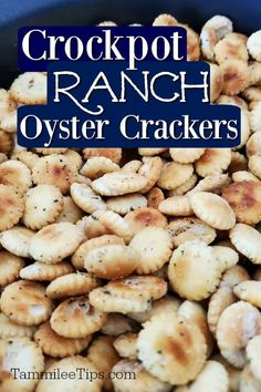 Easy crockpot Ranch Oyster Crackers Recipe you will love! These seasoned crackers are perfect for soup, salads or as a snack. You can make these as spicy as you want them. The slow cooker does all the work for you! Dill Oyster Cracker Recipe, Oyster Cracker Snack, Seasoned Oyster Crackers, Ranch Oyster Crackers, Best Crockpot Recipes, Slow Cooker Recipes, Crockpot Meals, Delicious Recipes, Spicy Pretzels