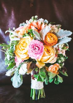yellow and pink bridal bouquet | photo by Plum Jam Photography | 100 Layer Cake