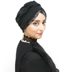 Black smart hijab, ready-to-wear hijab turban with height at front - womens, B/W modest fully draped headcover for wearing over long hair - - Black Pants Work, Hijab Turban Style, How To Wear Hijab, Vintage Save The Dates, Modest Fashion Hijab, Down Hairstyles, Cut And Style, Party Fashion, Ready To Wear