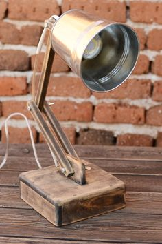 Unique, accent wooden lamp made ​​of solid lime wood and metal shade. Especially…