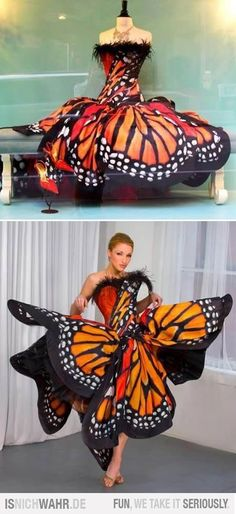 Monarch Butterfly Dress by Luly Yang Couture - would be the most gorgeous outfit for a fancy Halloween party Crazy Dresses, Pretty Dresses, Prom Dresses, Dress Prom, Bridesmaid Gowns, Sequin Dress, Beautiful Outfits, Cool Outfits, 30 Outfits