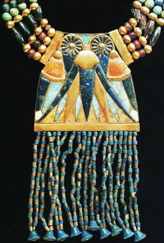 *EGYPT ~ Necklace with lunar pectoral, from the Tomb of Tutankhamun, (electrum,feldspar,lapis lazuli and gold beads). Ancient Egyptian Artifacts, Ancient Egyptian Jewelry, Egyptian Symbols, Egypt Jewelry, Viking Jewelry, Egypt Museum, Electrum, South Indian Jewellery, Jewelry Making Supplies