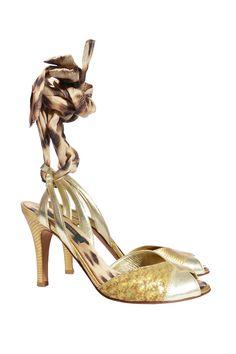#JustCavalli   Elegante #Sandalette aus goldfarbenem Leder, Gr. 36   Just Cavalli Sandalette   mymint-shop.com   Ihr Online #Shop für #Secondhand / #Vintage Designerkleidung & #Accessoires bis zu -90% vom Neupreis das ganze Jahr #mymint