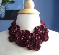 BLOOM GARLAND -  design statement necklace - fabric flower  blooms with freshwater pearls Made To Order