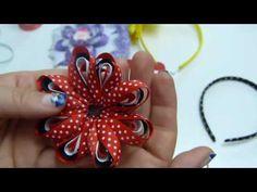 Como Elaborar lindas flores de liston delgado para Diademas, Balacas