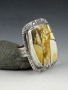 Hidden Valley Jasper Ring, yellow and silver, sterling silver ring, size 8.5, yellow ring, bohemian, large ring, statement ring, stamped by MicheleGradyDesigns on Etsy