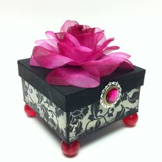 Items similar to Roselin Damask medium paper mache trinket box on Etsy Cigar Box Art, Paper Mache Boxes, Old Boxes, Altered Boxes, Treasure Boxes, Little Boxes, Jewel Box, Box Design, Trinket Boxes
