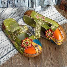 c32d9c96e077 Hot-sale SOCOFY Vintage Colorful Leather Hollow Out Backless Flower Shoes -  NewChic Fashion Over
