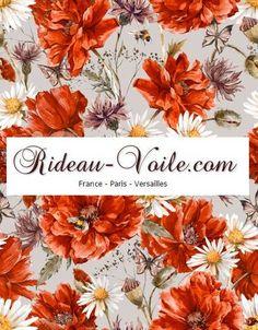 Magnifique imprimé à motifs fleuris, rideau sur mesure style floral et tissu ameublement à fleurs (de Rideau-voile)