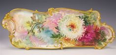 """Exceptional Crème De La Crème Art-Porcelain Mold Serving Tray Dresser Tray Victorian Masterpiece by Respected Turn of the Century Artist """"MARY BLANCHE LENZI"""" One-of-a-kind Antique hand painted Rosenthal Bavaria Floral Large Tray, circa 1900"""