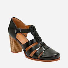 14f4048751a7 Ciera Gull Black Leather Comfortable Heels