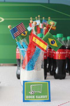 World Cup Soccer themed birthday party via Kara's Party Ideas- I like the flags.