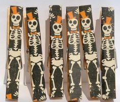Make your own skeleton clothespins! #halloween #diy