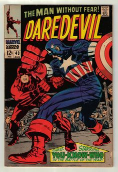 Daredevil #43 - Aug. 1968 Marvel Comic Book - Featuring Captain America RARE!