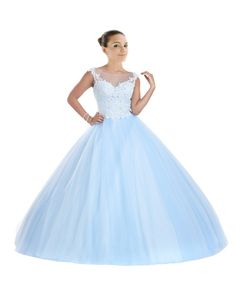 Mollybridal Illusion Sheer Neck Tulle Ball Gown Quinceanera Prom Dress with Cap Sleeve Lace Light Blue 18. Fashion Bateau Sheer Neck Backless Tulle Applique Lace Ball Gown. Corset Back Beaded Long Quinceanera Dresses Prom Formal Dress Gowns. SIZE COLOE:Please read the OUR SIZE CHART image on the left carefully before you order the dress from us,All our dresses are Made-To-Order. Please send us your measurments (bust, waist, hips, height without shoes ,heel height and color )after you…