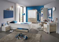 Jugendzimmer komplett Alpinweiß Eiche Sägerau 5700. Buy now at https://www.moebel-wohnbar.de/kinderzimmer-komplett-kira-jugendzimmer-8-tlg-weiss-eiche-saegerau-5700.html