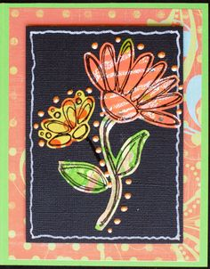 https://flic.kr/p/xs4u3G | Greeting Card - Scribble Flower 8 | Greeting card created with: - Green cardstock - Coordinating background paper - Black cardstock - Floral components created from various Gelli Plate prints - Embellished with Ranger Liquid Pearls - Stamp Credits:  Flowers & Leaves by Fiskars - Card measures 4.25 x 5.5