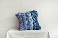 Blue  denim  violet plait pillowcase  dyed decorative di taftyli