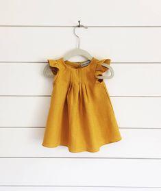 32a9ef0e2d6 Mustard yellow linen dress