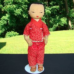 Aug. 29 Vintage Chinese Asian Ada Lum Cloth Doll Peasant Woman C1950s 18.5 Inch #AdaLum