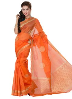 Orange Printed Supernet Saree