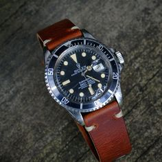 BandrBands 20mm Cognac Vintage Leather Watch Band Strap On Rolex Submariner Photo by ronabraham | Photobucket