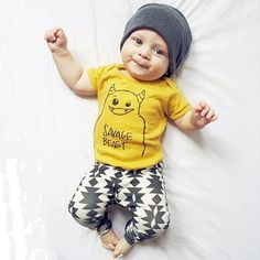 Adorable Savage Beast! Two piece shirt and pant set Vibrant colors Cotton Blend Fits true to size