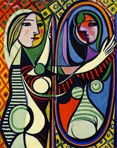 Picasso. Girl Before a Mirror,1932. This work combines in one complex image two extremes of his style; the revolutionary and, in the girls pure classic profile, the traditional.