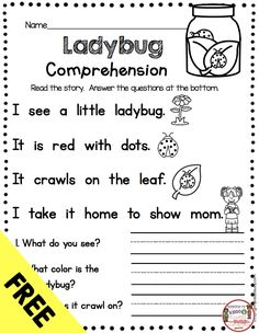FREE Kindergarten Reading Passage with Comprehension Questions - Spring ladybug theme - fluency and sight word practice - guided reading groups - small reading groups and intervention - first grade RTI - free emergent reading and writing activity Kindergarten Classroom Management, Kindergarten Lessons, Kindergarten Writing, Reading Intervention Kindergarten, Kindergarten Language Arts, Kindergarten Worksheets, Reading Practice, Sight Word Practice, Reading Groups