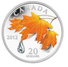 Maple Leaf Silber  Color-Maple mit Regentropfen    Auflage: 10.000 Stück  Nennwert: 20 Can$  Metall: 999,9 Silber  Gewicht: 31,39 Gramm  Durchmesser: 38mm  Jahrgang 2012  Qualität: PROOF